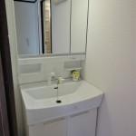 三面鏡洗面化粧台新品交換(風呂)